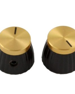 Marshall Knobs (2) Black With Gold Cap (Incl Set Screw)